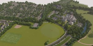 Winslade Park public consultation aerial CGI looking towards Clyst St Mary