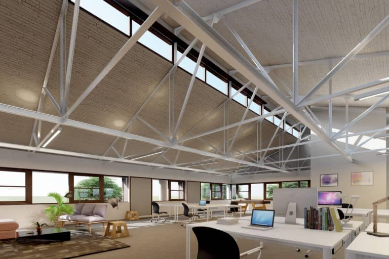 View across open plan top floor offices in the naturally lit Winslade House. CGI