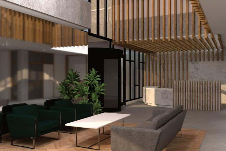 Winslade House Interior - Artists Impression of reception area with luxury seating and natural wood finishes