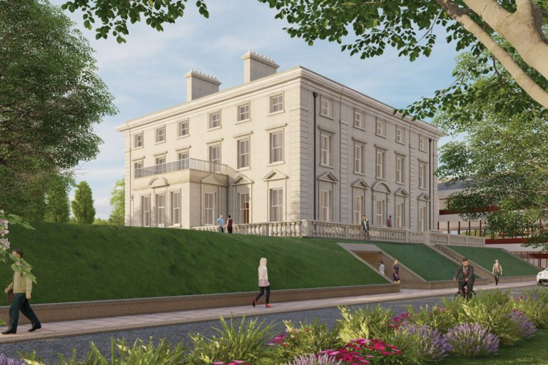 Exterior low angle CGI showing Winslade Manor after it has been refurbished
