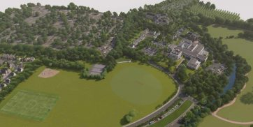 Winslade Park public consultation aerial CGI looking towards Clyst St Mary